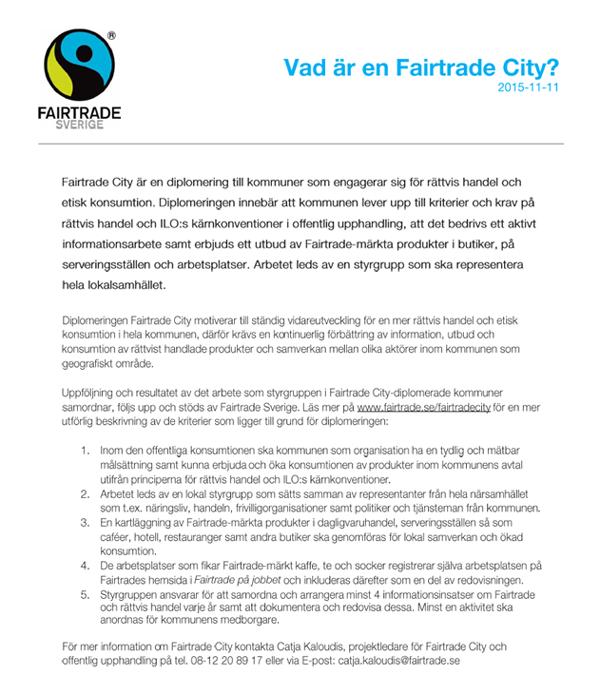 Vad är en Fairtrade City?