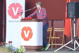 Tal och uppträdanden: Markus Appelberg från Ung Vänster i Skaraborg.