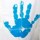 Blå handflata.